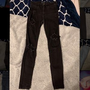Hollister high wasted black ripped jeans